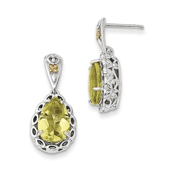 Sterling Silver w/14k Lemon Quartz Earrings