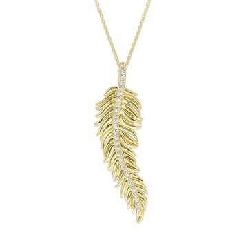 Diamond Feather Necklace in 14K Yellow Gold with 27 Diamonds Weighing .27ct tw.