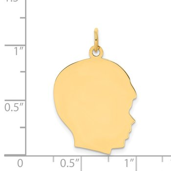 14k Plain Large .011 Gauge Facing Right Engravable Boy Head Charm