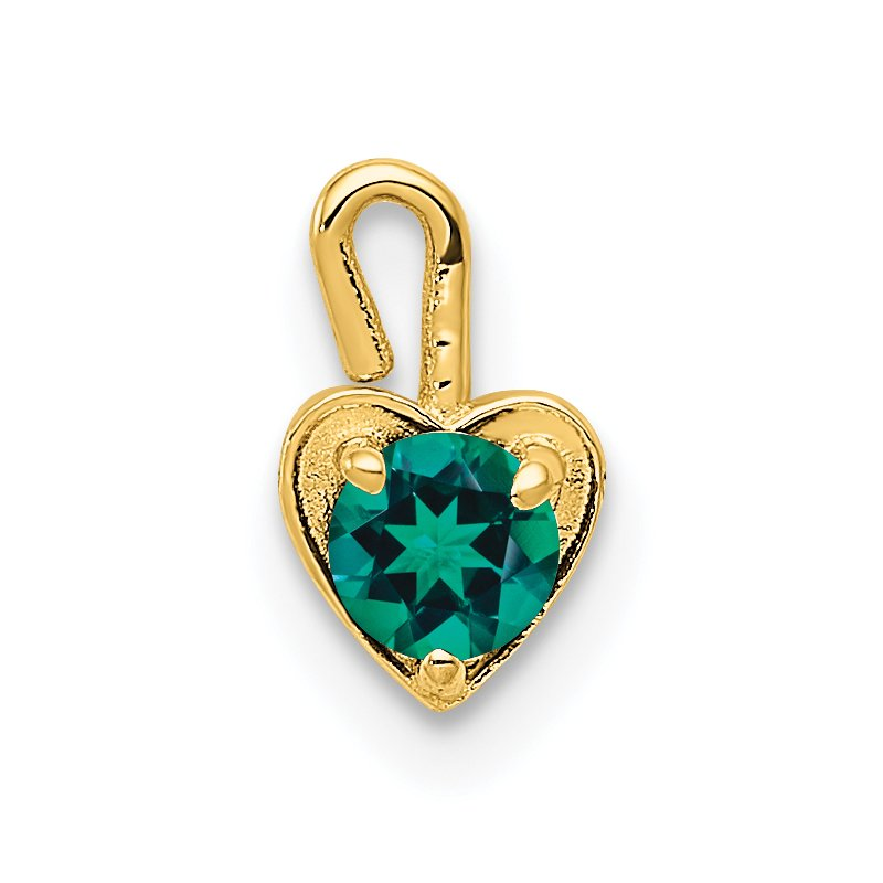 Quality Gold 14ky May Synthetic Birthstone Heart Charm