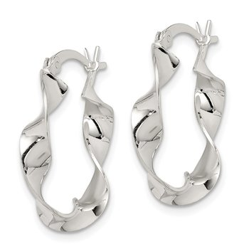 Sterling Silver Twisted 4x22mm Hoop Earrings