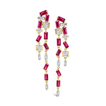 Ruby & Diamond Double <i>Modern</i> <b>Stiletto</b> Set in 14 Kt. Gold