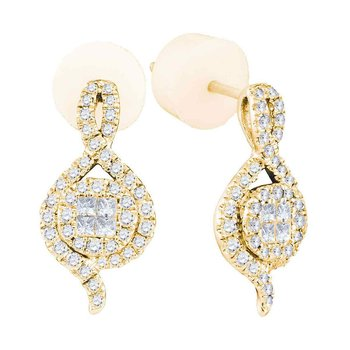 14kt Yellow Gold Womens Princess Round Diamond Soleil Spade Cluster Earrings 1/2 Cttw