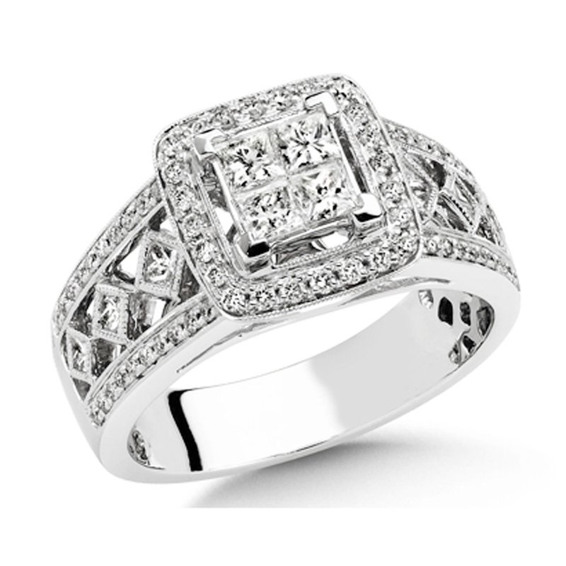 SDC Creations Princess Cut Vintage Style Engagment Ring, 14k White Gold (1 ct. tw.)