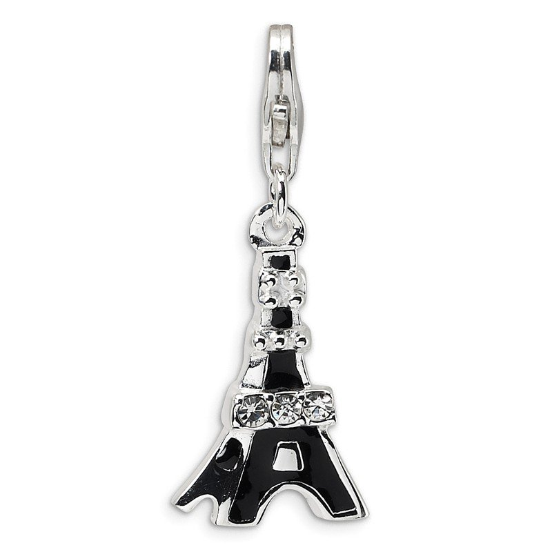 Quality Gold Sterling Silver Black Enameled CZ Eiffel Tower w/Lobster Clasp Charm