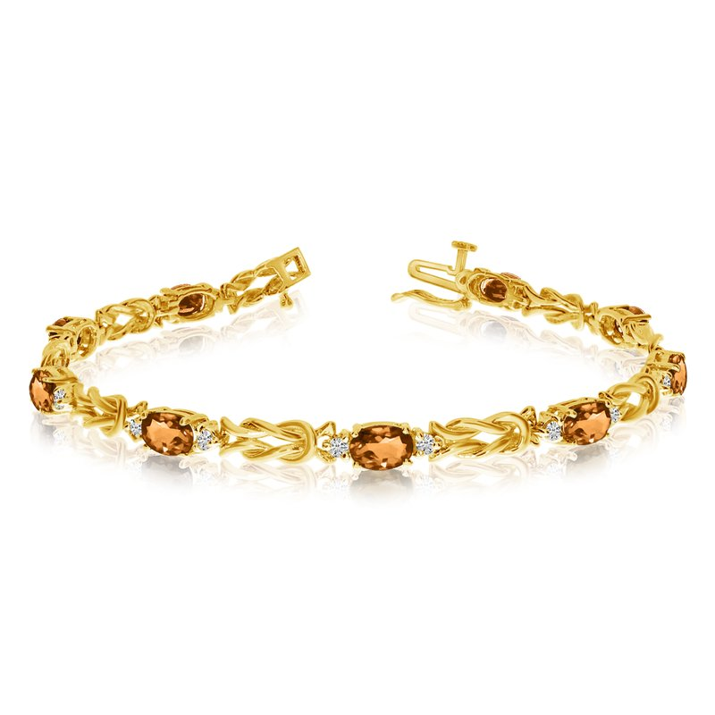 Color Merchants 14k Yellow Gold Natural Citrine And Diamond Tennis Bracelet