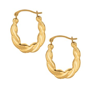 10K Gold Puffy Scalloped Oval Hoop Earring