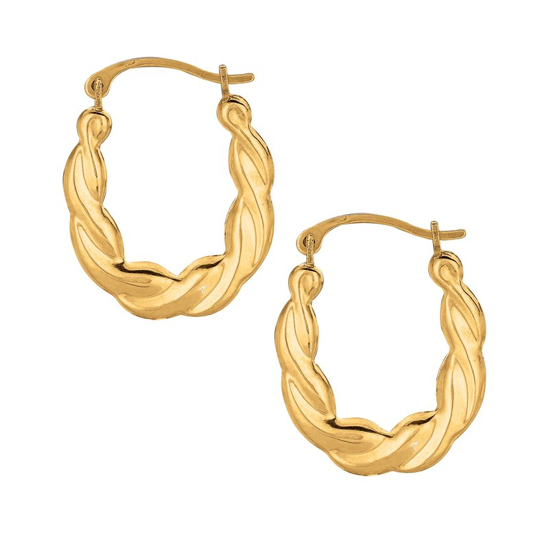 Royal Chain 10K Gold Puffy Scalloped Oval Hoop Earring