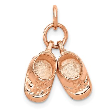 14k 3D Moveable Rose Gold Baby Shoes Charm