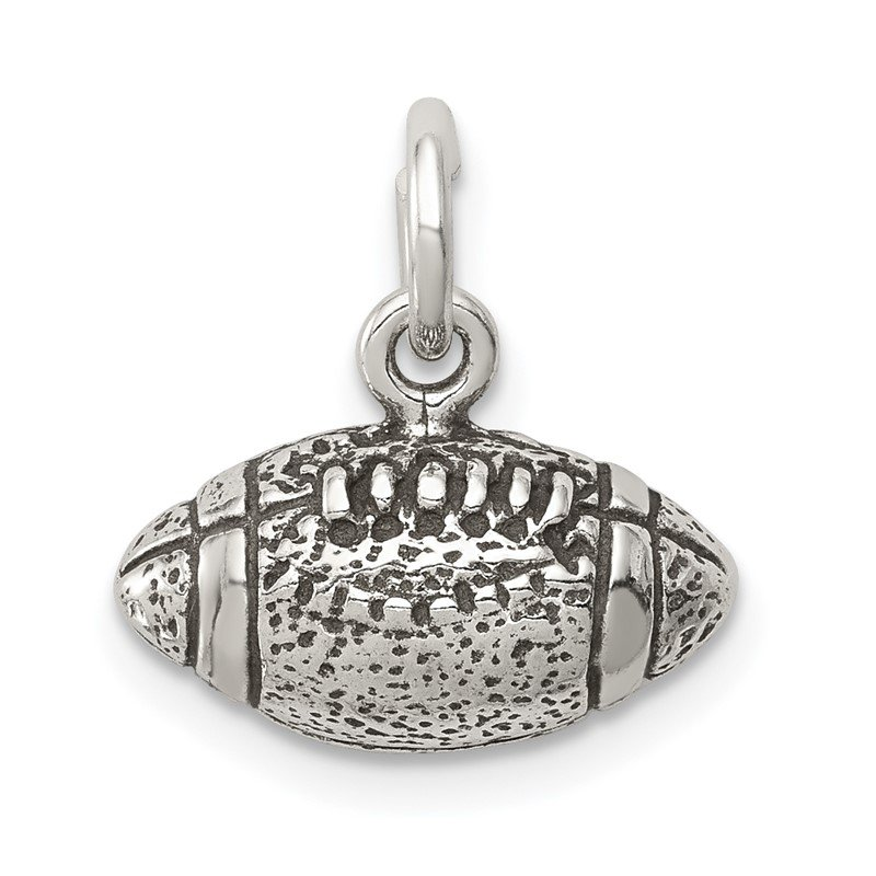 Quality Gold Sterling Silver Antiqued Football Charm
