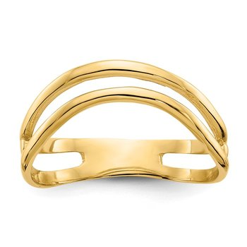 14K Gold Polished Double Wave Fashion Thumb Ring