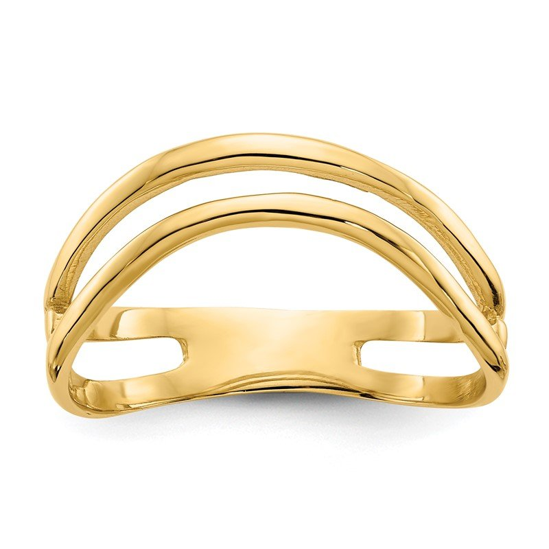Quality Gold 14K Gold Polished Double Wave Fashion Thumb Ring