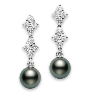 Classic Elegance Black South Sea Cultured Pearl Long Earrings