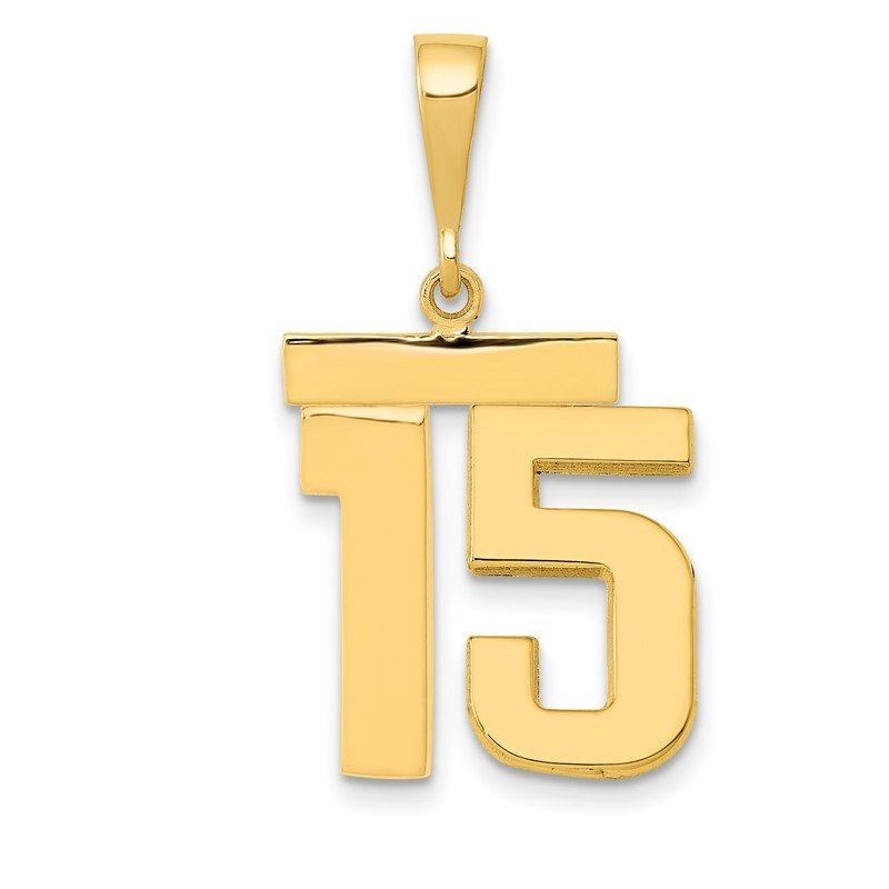 Quality Gold 14k Medium Polished Number 15 Charm