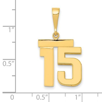 14k Medium Polished Number 15 Charm