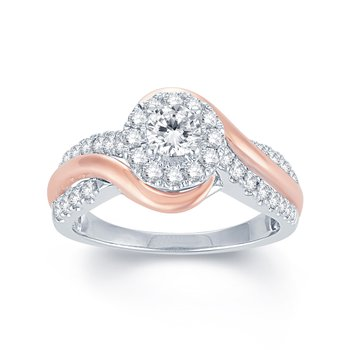 1ctw  Two Tone Rose & White Gold Engagement Ring