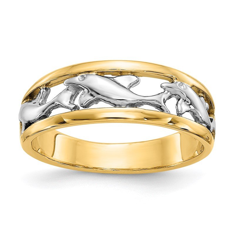 Quality Gold 14k With Rhodium Dolphin Ring