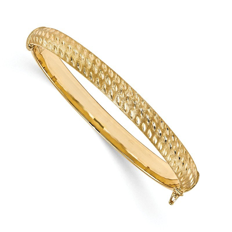 Leslie's Leslie's 14K Polished D/C Scratch-finish Hinged Bangle