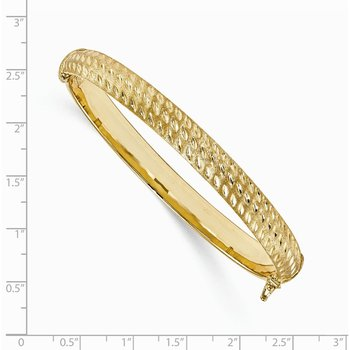 Leslie's 14K Polished D/C Scratch-finish Hinged Bangle