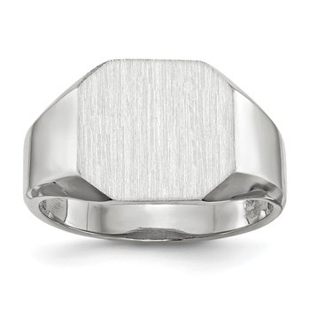 14k White Gold 11.0x11.0mm Open Back Men's Signet Ring