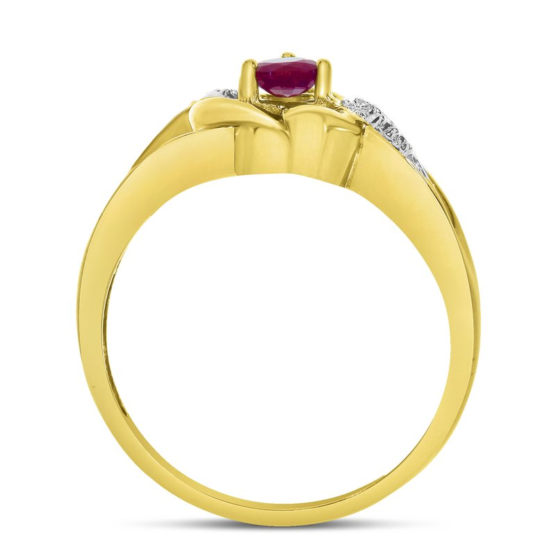 Color Merchants 10k Yellow Gold Round Ruby And Diamond Heart Ring