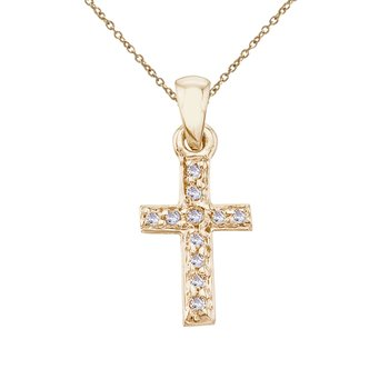14K Yellow Gold Small Diamond Cross Pendant