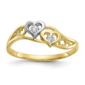 10K w/Rhodium Double Heart CZ Ring