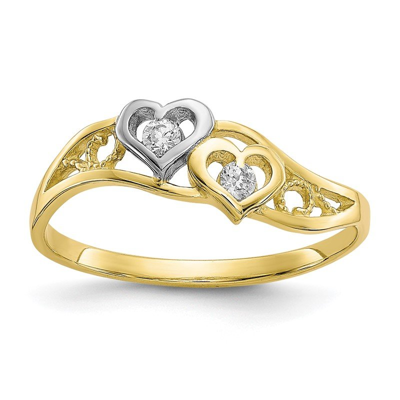 Quality Gold 10K w/Rhodium Double Heart CZ Ring