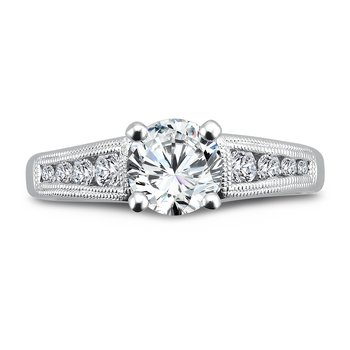 Vintage Collection Diamond Engagement Ring With Channel Set Side Stones in 14K White Gold with Platinum Head (1ct. tw.)