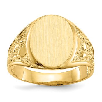 14k 15.0x11.5mm Open Back Men's Signet Ring