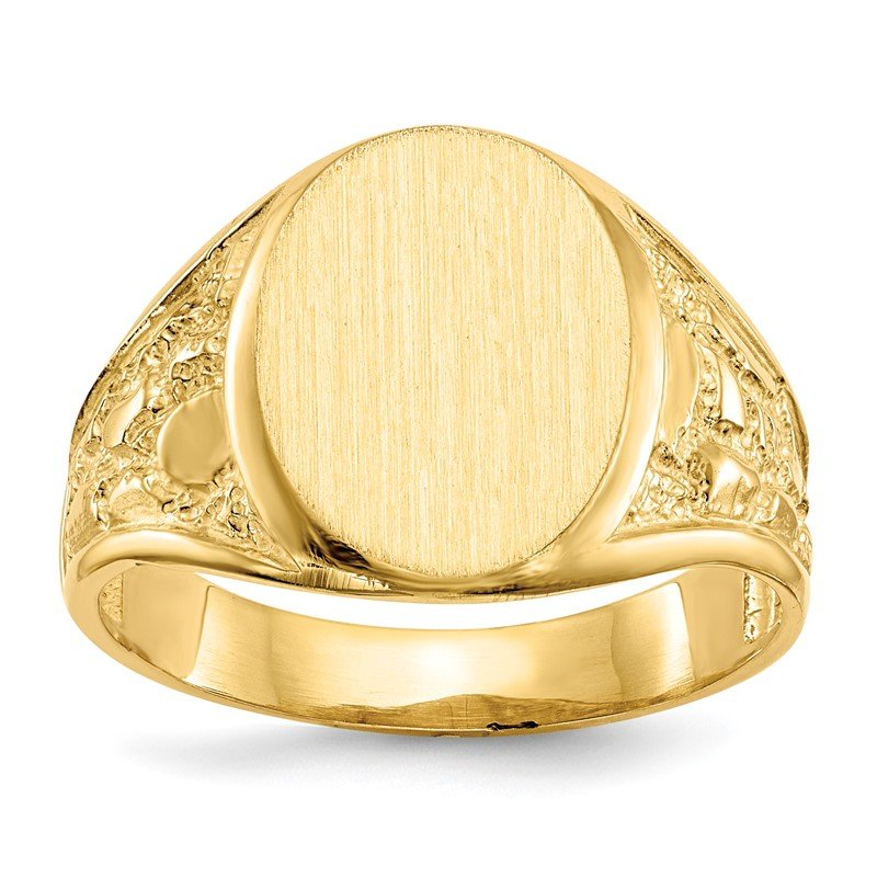 Quality Gold 14k 15.0x11.5mm Open Back Men's Signet Ring