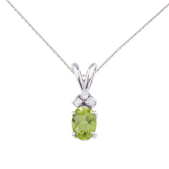 14K White Gold Oval Peridot and Diamond