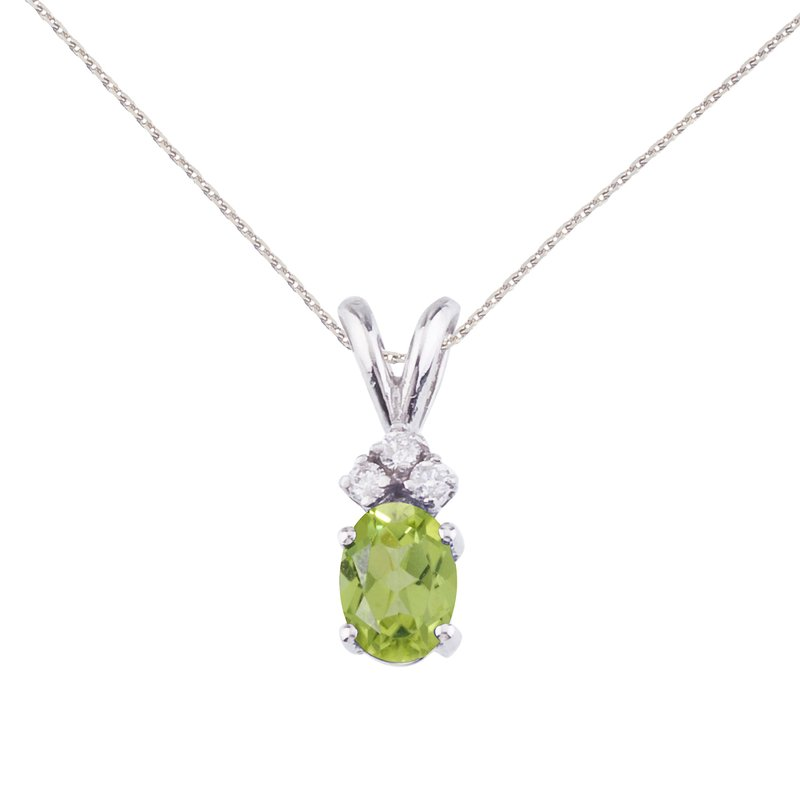 Color Merchants 14K White Gold Oval Peridot and Diamond