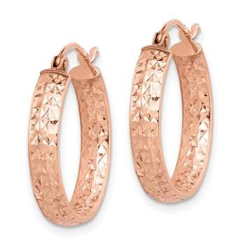 14k Rose Gold Diamond-cut In/Out Hoop Earrings