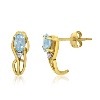 14K Yellow Gold Curved Aqumarine and Diamond Earrings