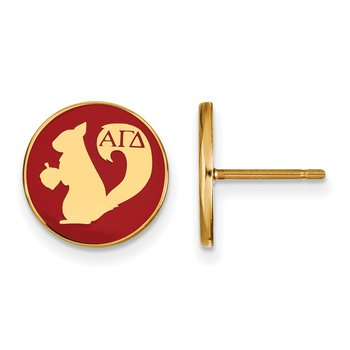 Gold-Plated Sterling Silver Alpha Gamma Delta Greek Life Earrings
