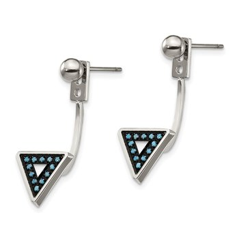Stainless Steel Polished w/Reconstructed Turquoise Front & Back Earrings