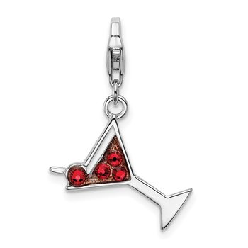 Sterling Silver RH w/Lobster Clasp Red Crystal Martini Glass Charm