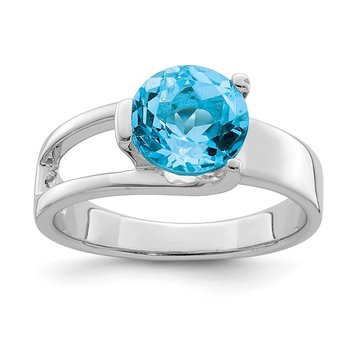 Sterling Silver Rhodium-plated w/Blue Topaz Ring