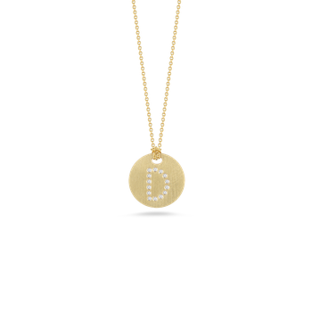 18KT GOLD DISC PENDANT WITH DIAMOND INITIAL D