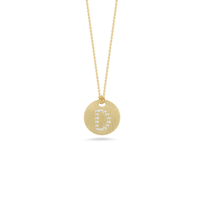 Roberto Coin 18Kt Gold Disc Pendant With Diamond Initial D