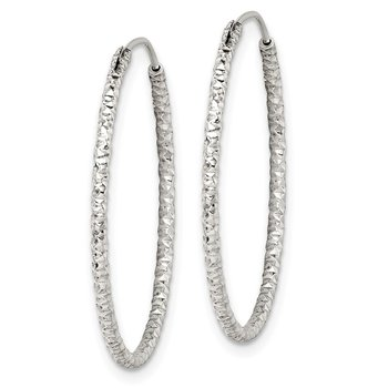 Sterling Silver Diamond Cut 1.5x28mm Endless Hoop Earrings