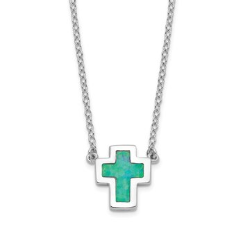Sterling Silver Rhodium-plated Imitation Opal Cross w/1in ext Necklace