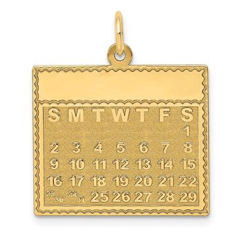 14k Saturday the First Day Calendar Pendant