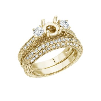14K Yellow Gold 1 Ct Fashion Bridal Diamond Ring Set
