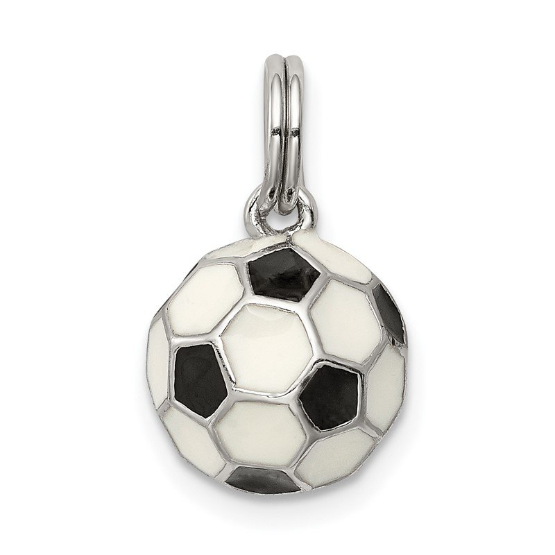 JC Sipe Essentials Sterling Silver Rhodium-plated and Enameled Soccer Ball Charm