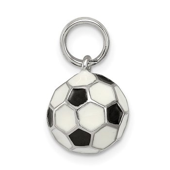 Sterling Silver Rhodium-plated and Enameled Soccer Ball Charm