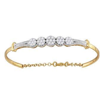 10kt Yellow Gold Womens Round Diamond Cluster Promise Bangle Bracelet 1.00 Cttw