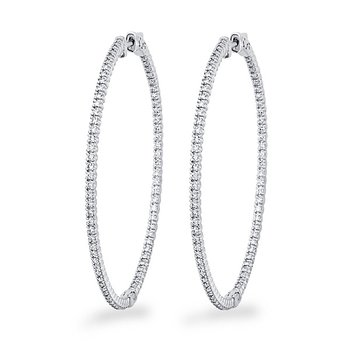 Diamond Inside Outside Hoop Earrings in 14k White Gold with 156 Diamonds weighing 1.48ct tw.
