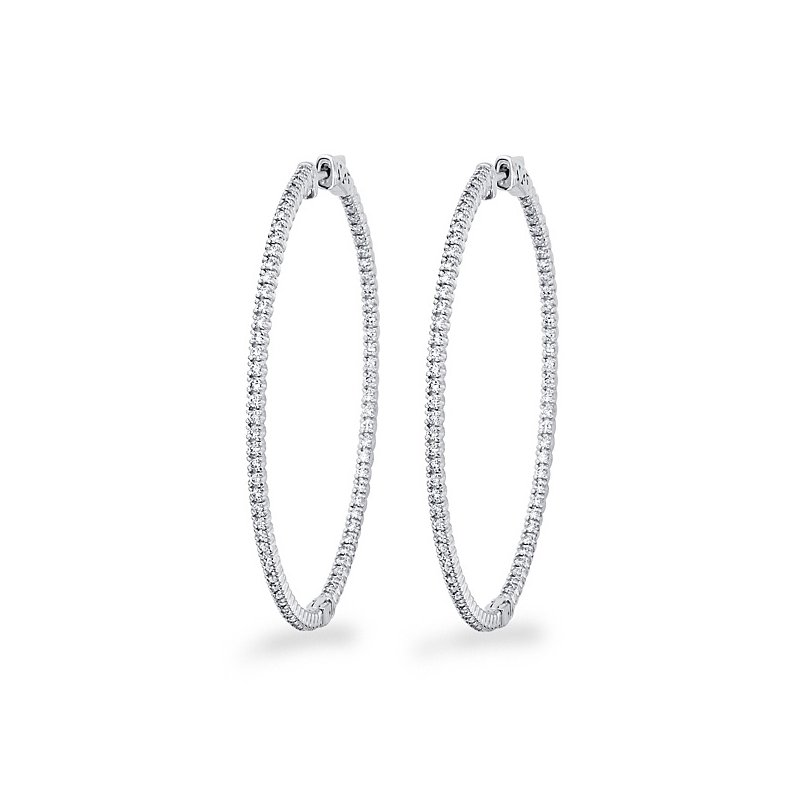 KC Designs Diamond Inside Outside Hoop Earrings in 14k White Gold with 156 Diamonds weighing 1.48ct tw.